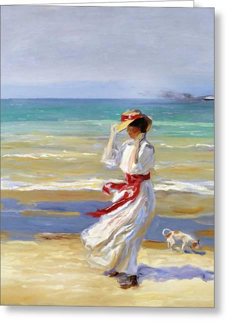 Summer Beach Walk Impressionism Greeting Card