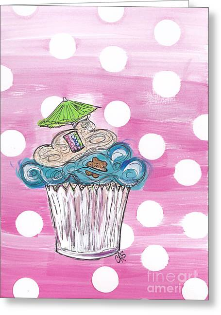 Summer Bear Cuppy Cake Greeting Card by Cheryl Seagraves