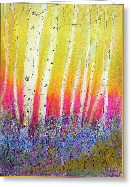 Greeting Card featuring the pastel Summer Birch  by Linde Townsend