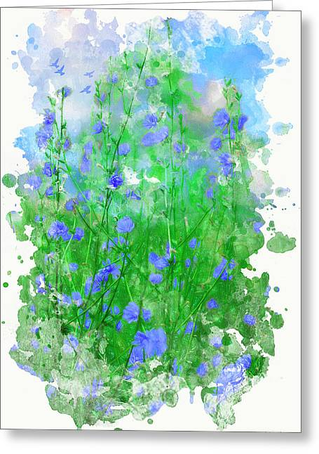 Summer Blue Greeting Card by Ron Jones