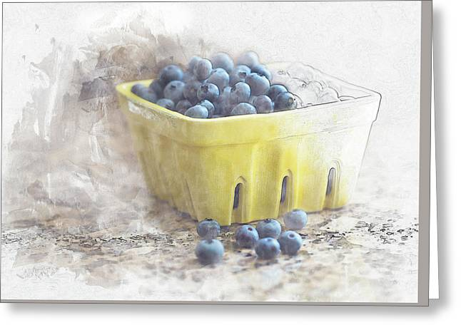 Greeting Card featuring the digital art Summer Blueberries by Sue Collura
