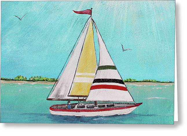 Greeting Card featuring the painting Summer Breeze-d by Jean Plout