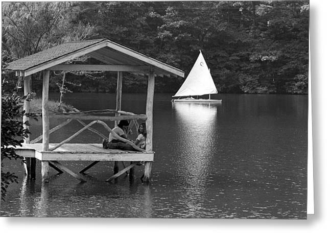 Summer Camp Black And White 1 Greeting Card by Michael Fryd