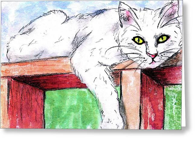 Summer Cat Greeting Card by P J Lewis