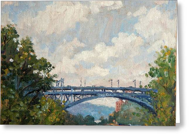 Summer Clouds Henry Hudson Bridge From Inwood Nyc Greeting Card by Thor Wickstrom