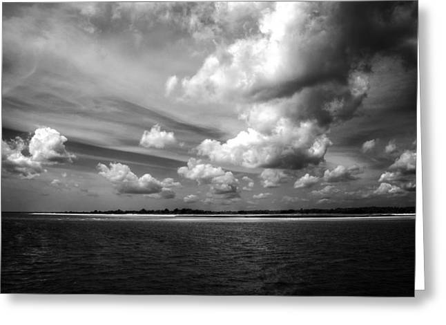 Summer Clouds In Back And White Greeting Card