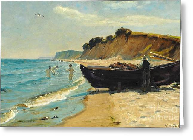 Summer Day At The Beach With Bathing Boys And Fishing In A Boat Greeting Card by Celestial Images