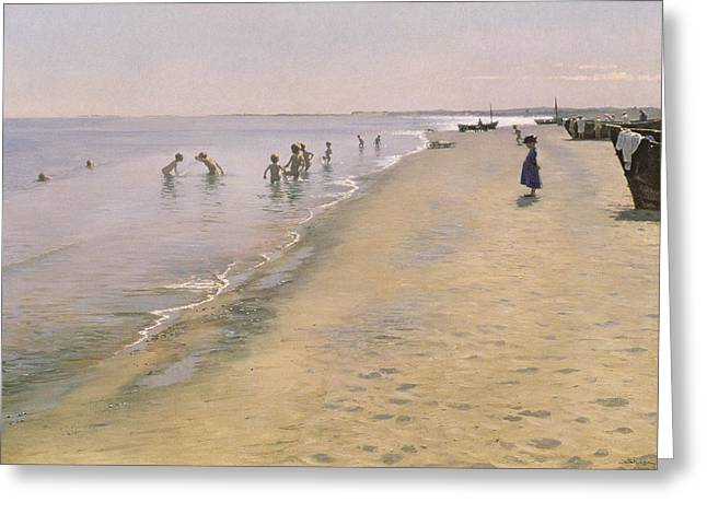 Boats On Water Greeting Cards - Summer Day at the South Beach of Skagen Greeting Card by Peder Severin Kroyer