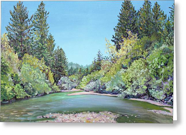 Summer Day On The Gualala River Greeting Card by Asha Carolyn Young