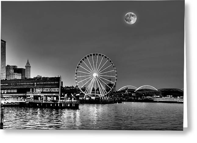Summer Eve On The Seattle Waterfront Greeting Card by Greg Sigrist