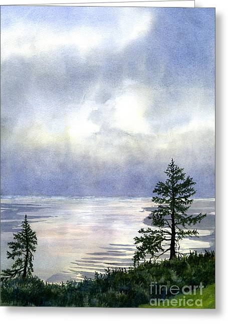 Summer Evening Clouds Over Bay With Trees Greeting Card by Sharon Freeman