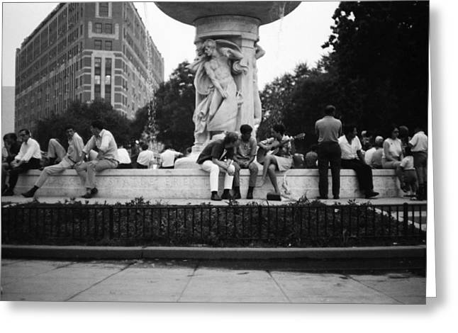 Summer Evening Dupont Circle Washington Dc Vintage 1966 Greeting Card by Wayne Higgs