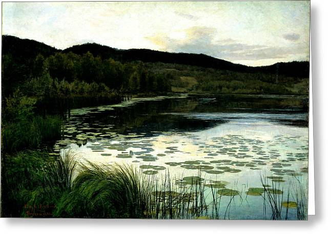 Norwegian Sunset Paintings Greeting Cards - Summer Evening Greeting Card by Kitty Lange Kielland