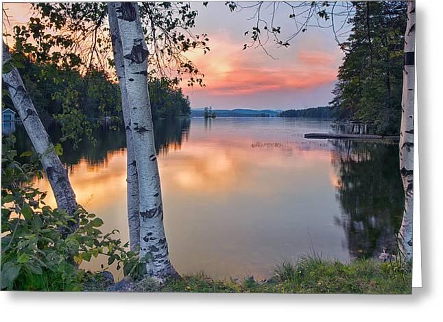 Summer Evening On Highland Lake Greeting Card
