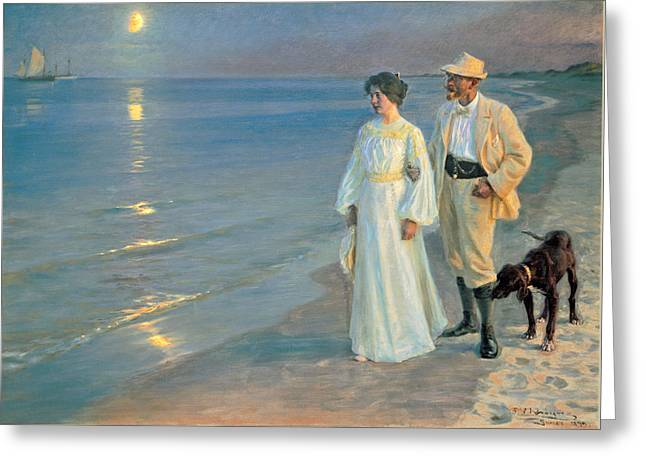 Summer Evening On The Beach At Skagen, The Painter And His Wife. Greeting Card