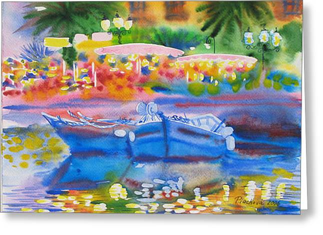 Summer Evening Upon The Sea.2006 Greeting Card by Natalia Piacheva