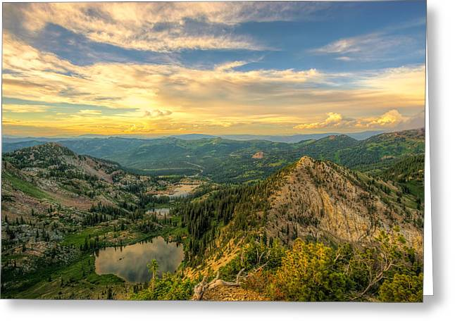 Summer Evening View From Sunset Peak Greeting Card