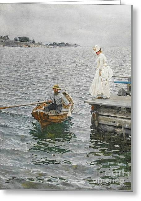 Summer Ferry 1886 Greeting Card by Padre Art
