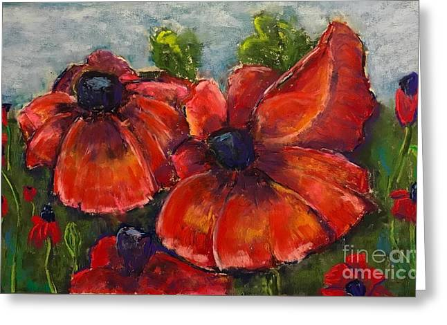 Summer Field Of Poppies Greeting Card