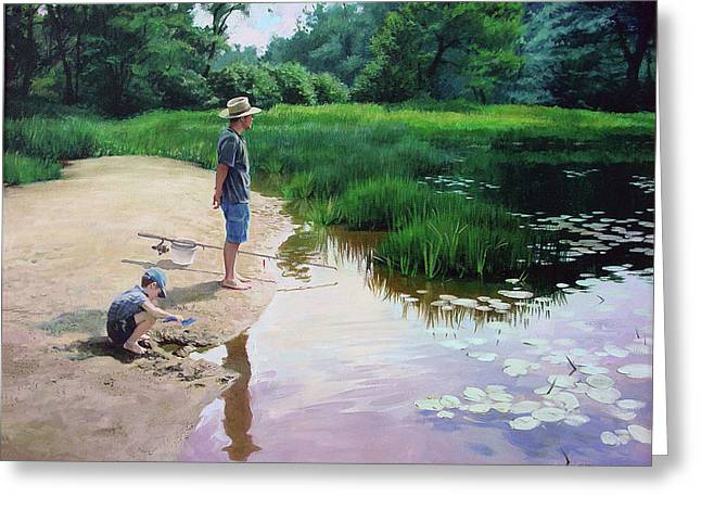 Greeting Card featuring the painting Summer Fishing by Sergey Zhiboedov