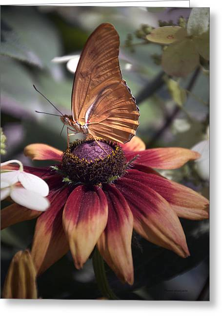 Summer Floral With Butterfly 03 Vertical Greeting Card by Thomas Woolworth