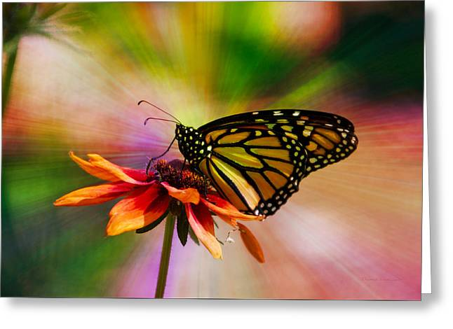 Summer Floral With Monarch Butterfly 03 Prism Greeting Card by Thomas Woolworth
