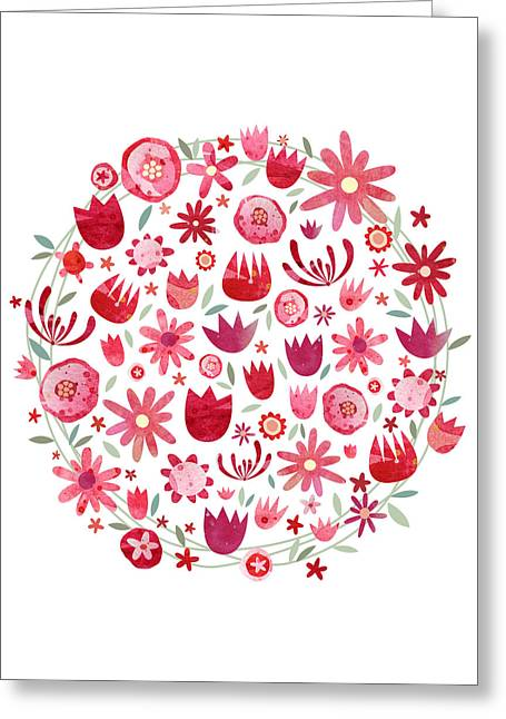 Summer Flower Circle Greeting Card by Nic Squirrell