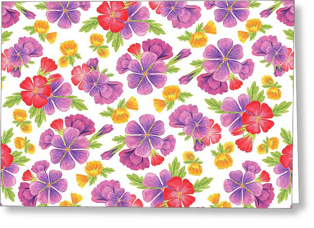 Summer Flowers Pattern Greeting Card by Irina Sztukowski