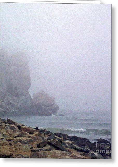 Fog At Sea Greeting Cards - Summer Fog At The Beach Greeting Card by Methune Hively