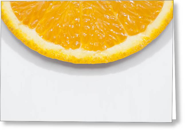 Summer Fruit Orange Slice On Studio Copyspace Greeting Card by Jorgo Photography - Wall Art Gallery