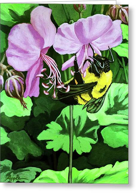 Greeting Card featuring the painting Summer Garden Bumblebee And Flowers Nature Painting by Linda Apple