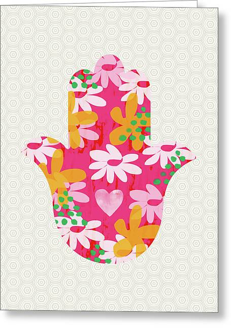 Summer Garden Hamsa- Art By Linda Woods Greeting Card