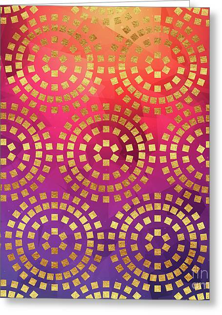 Summer Heat Colourful Geometric Abstract Art Greeting Card by Tina Lavoie