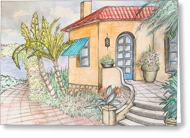 Summer House Greeting Card by Nermine Hanna
