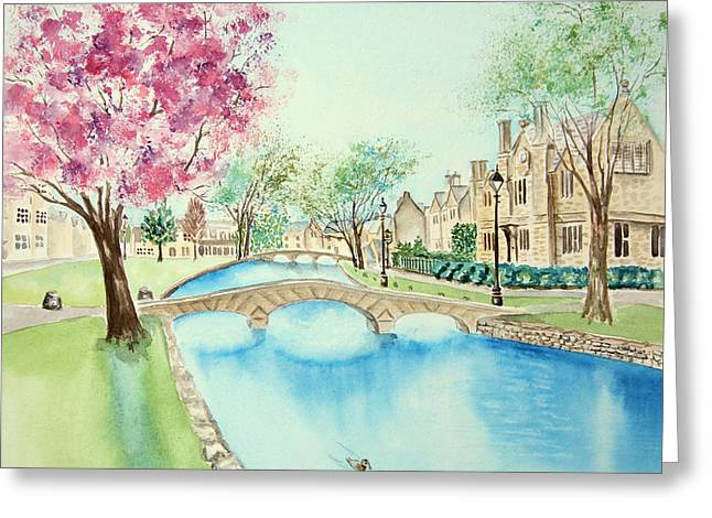 Greeting Card featuring the painting Summer In Bourton by Elizabeth Lock