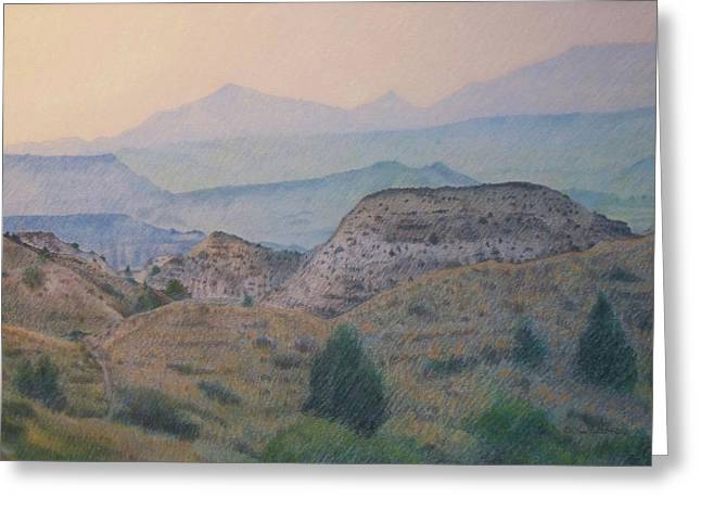 Greeting Card featuring the drawing Summer In The Badlands by Cris Fulton