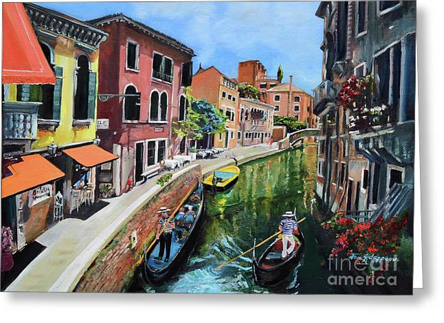 Greeting Card featuring the painting Summer In Venice - Venezia - Dreaming Of Italy by Jan Dappen