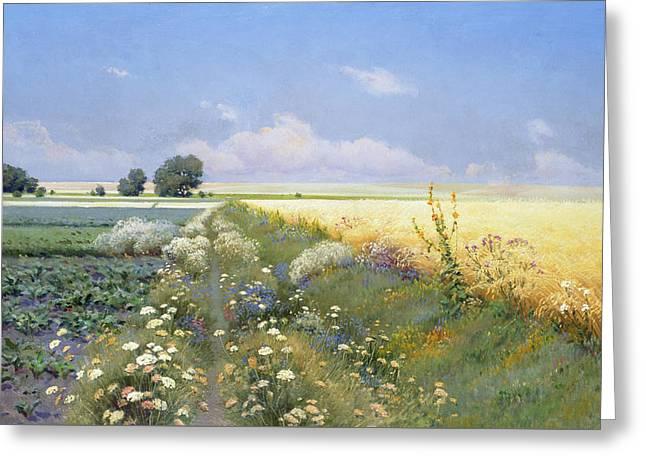 Summer Landscape Greeting Card by Eugeniusz Wrzeszcz