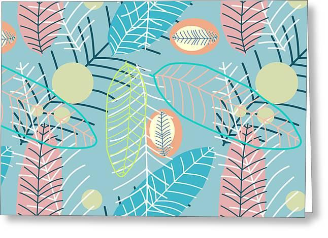 Summer Leaf In Blue  Greeting Card