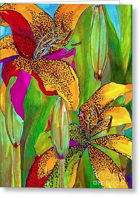 Summer Lilies Greeting Card by Claudia Smaletz