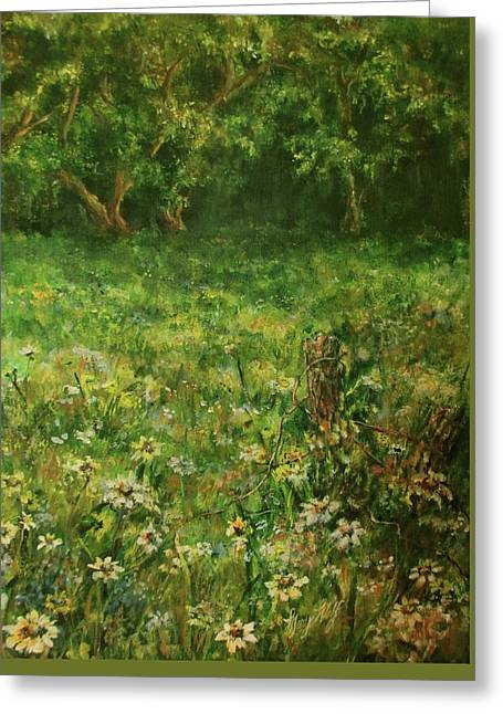 Summer Meadow Greeting Card by Mary Wolf