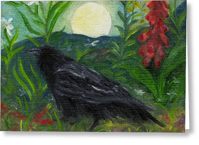 Summer Moon Raven Greeting Card