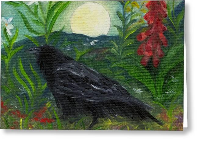 Summer Moon Raven Greeting Card