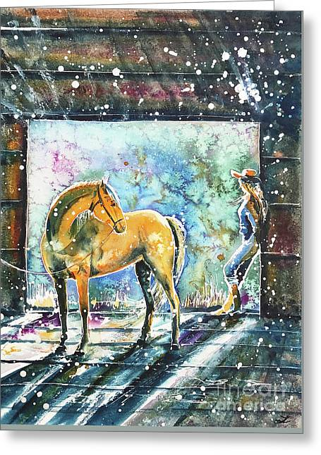 Greeting Card featuring the painting Summer Morning At The Barn by Zaira Dzhaubaeva