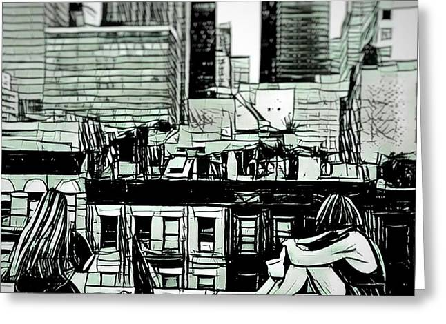 Summer Night In The City Sketch Drawing Greeting Card by MendyZ