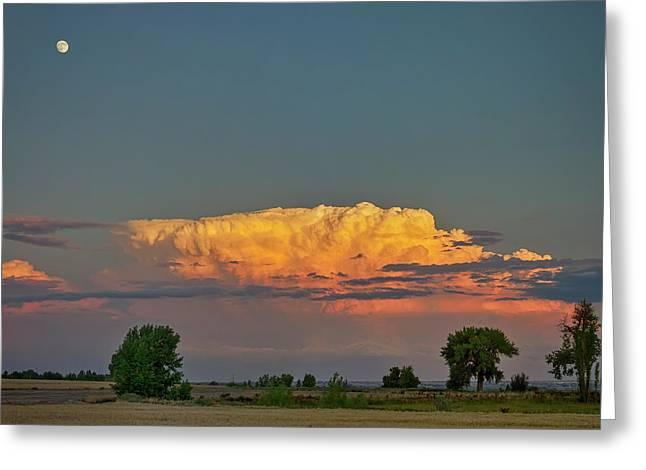 Greeting Card featuring the photograph Summer Night Storms Brewing And Moon Above by James BO Insogna