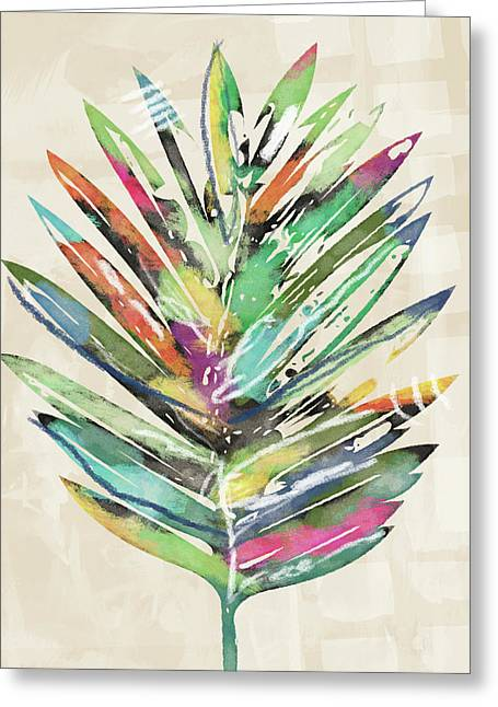 Summer Palm Leaf- Art By Linda Woods Greeting Card by Linda Woods