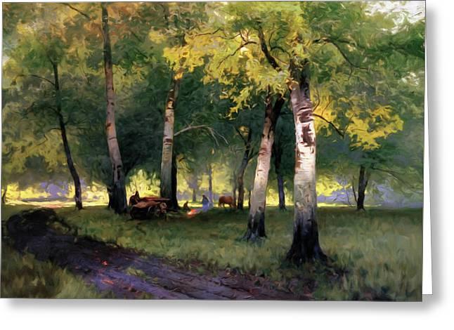 Summer Picnic Amongst The Birch Trees Greeting Card by Georgiana Romanovna
