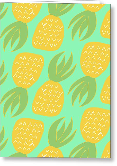 Summer Pineapples Greeting Card by Allyson Johnson