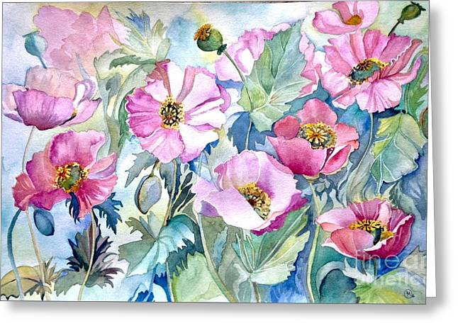 Greeting Card featuring the painting Summer Poppies by Iya Carson